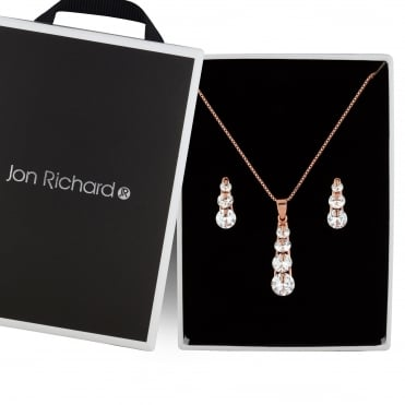 Rose gold crystal drop jewellery set