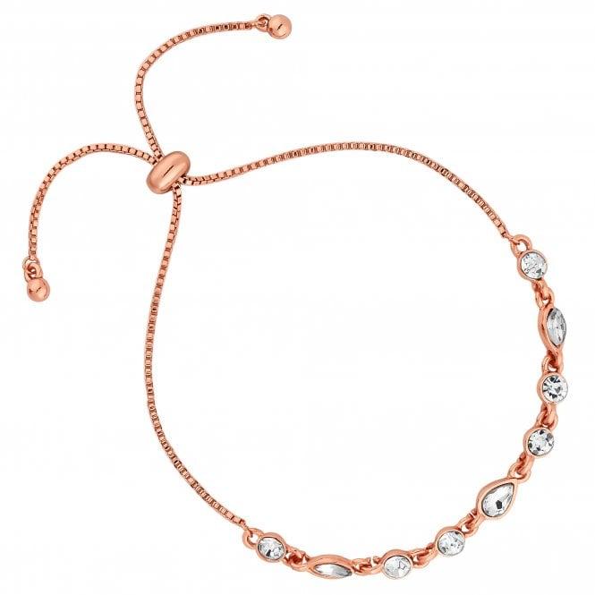 Rose Gold Crystal Droplet Toggle Bracelet