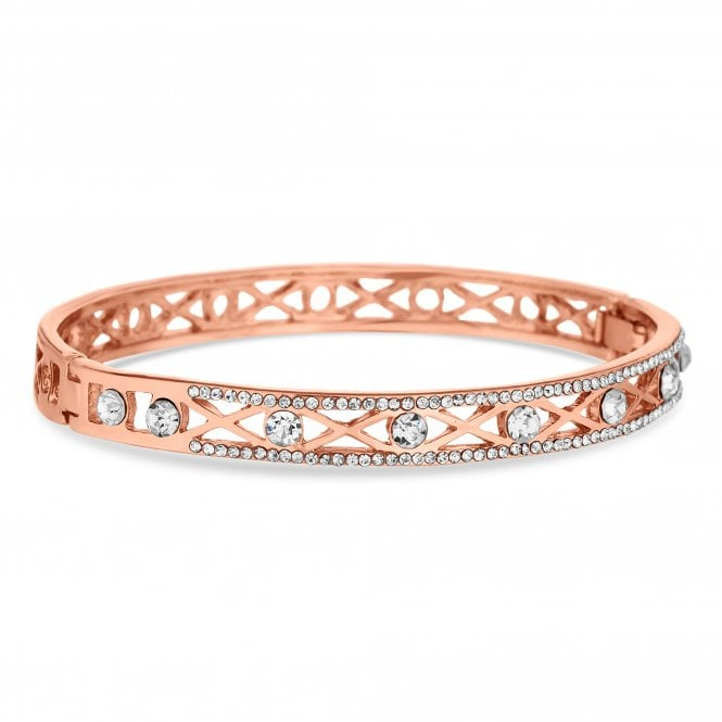 Rose Gold Crystal Filigree Bangle