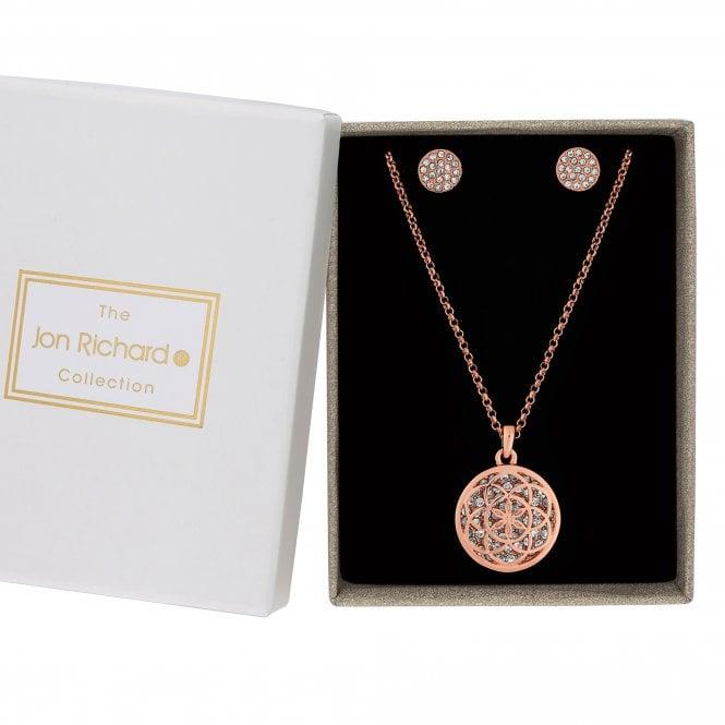 Rose Gold Crystal Filigree Jewellery Set