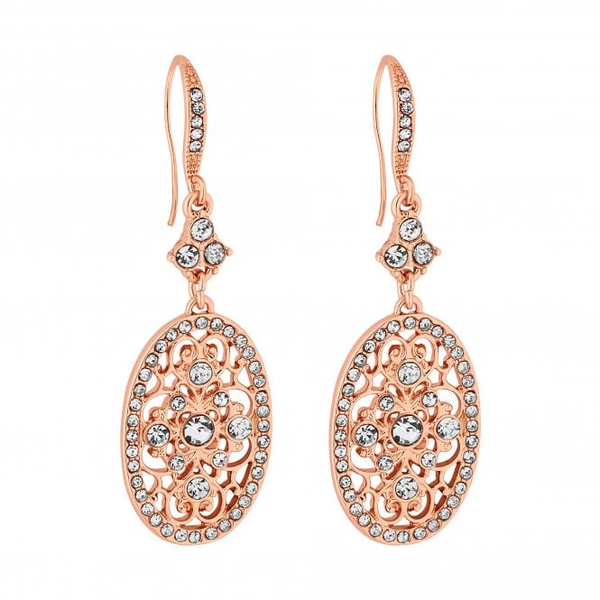 Rose Gold Crystal Filigree Oval Drop Earring