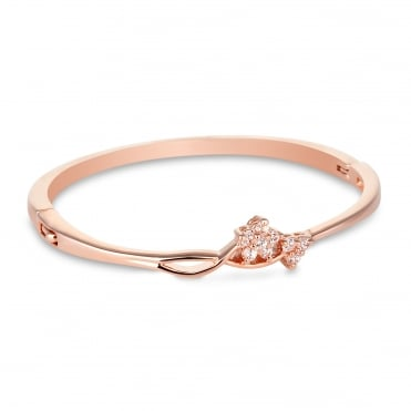 Rose gold crystal flower bangle