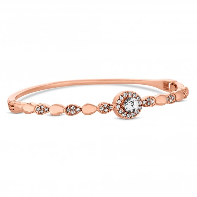 Rose Gold Crystal Halo Bangle