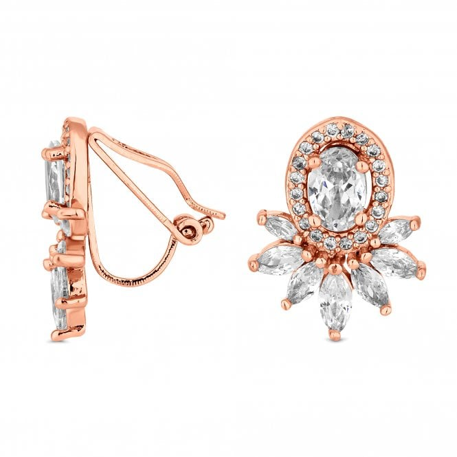 Rose Gold Crystal Halo Clip On Earring