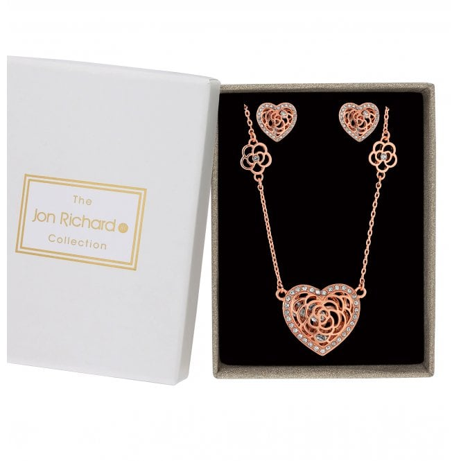 Rose Gold Crystal Heart Shaker Jewellery Set