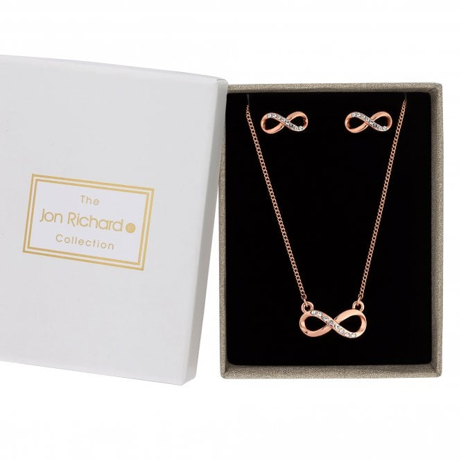 Rose Gold Crystal Infinity Jewellery Set In A Gift Box