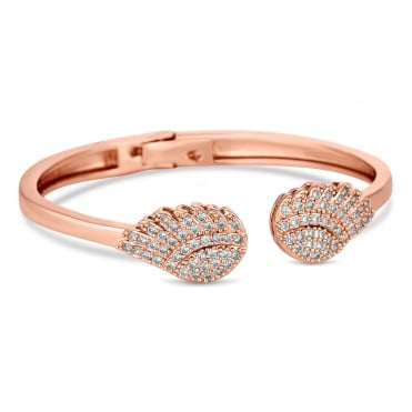 Rose gold crystal pave angel wing bangle