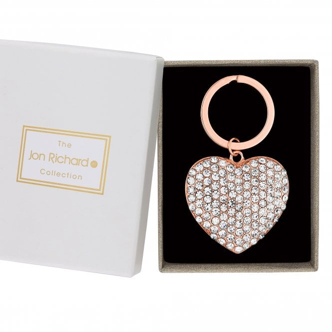 Rose gold Crystal Pave Heart Keyring In A Gift Box