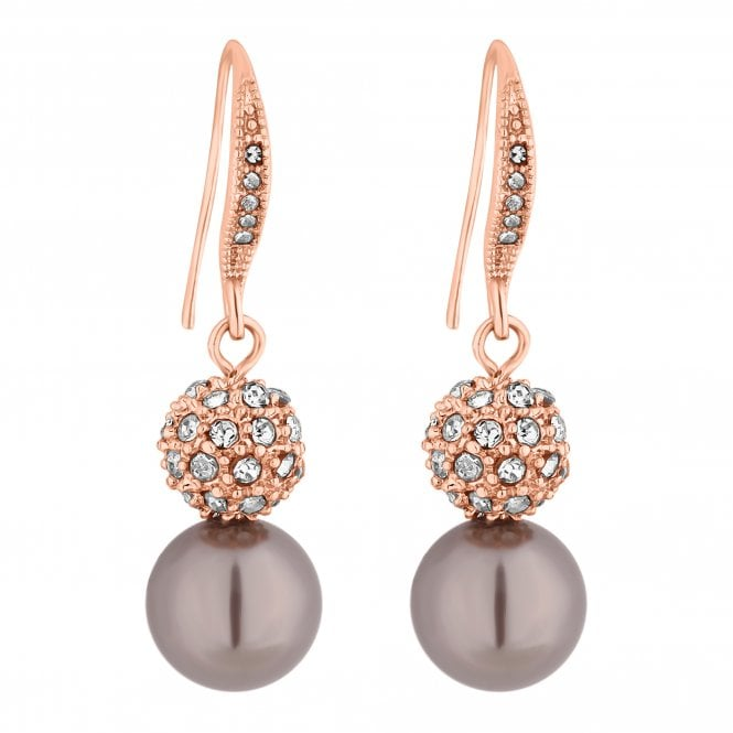 Rose Gold Crystal Pave Orb And Pearl Drop Earring
