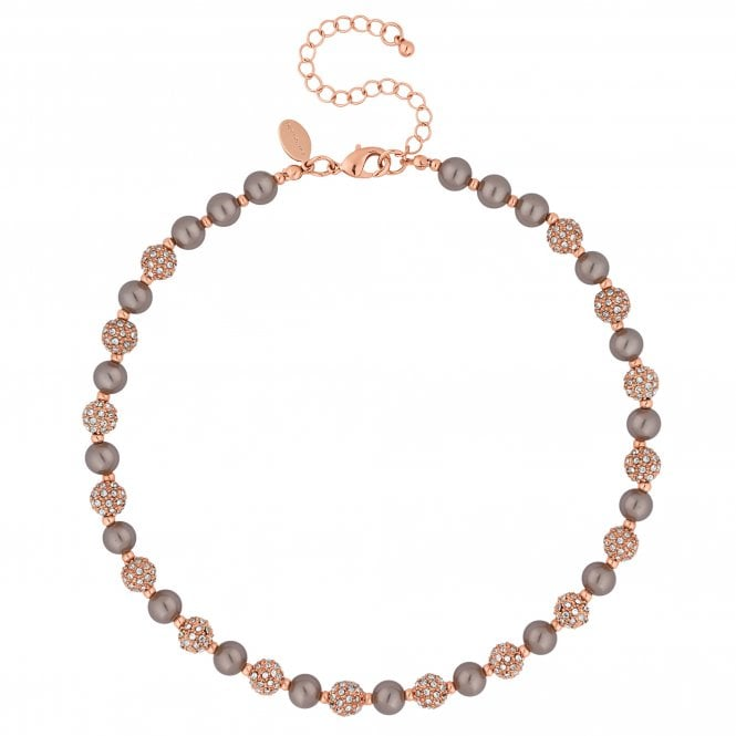 Rose Gold Crystal Pave Orb And Pearl Necklace