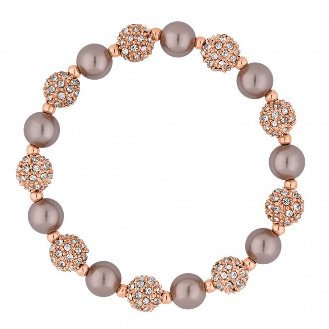 Rose Gold Crystal Pave Orb And Pearl Stretch Bracelet