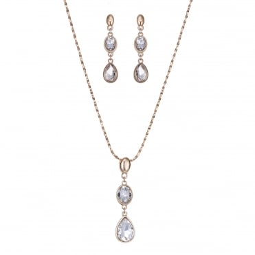 Rose gold crystal peardrop jewellery set
