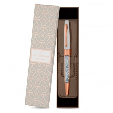 Rose gold crystal pen and pouch set