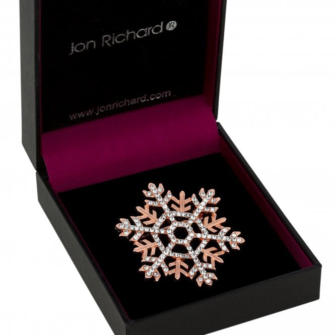 Rose Gold Crystal Snowflake Brooch