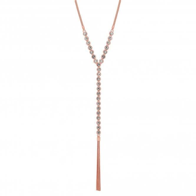 Rose Gold Crystal Tassel Lariat Necklace