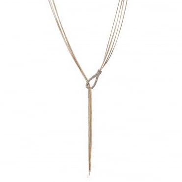 Rose gold crystal thread through lariat necklace