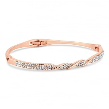 Rose gold crystal twist bangle