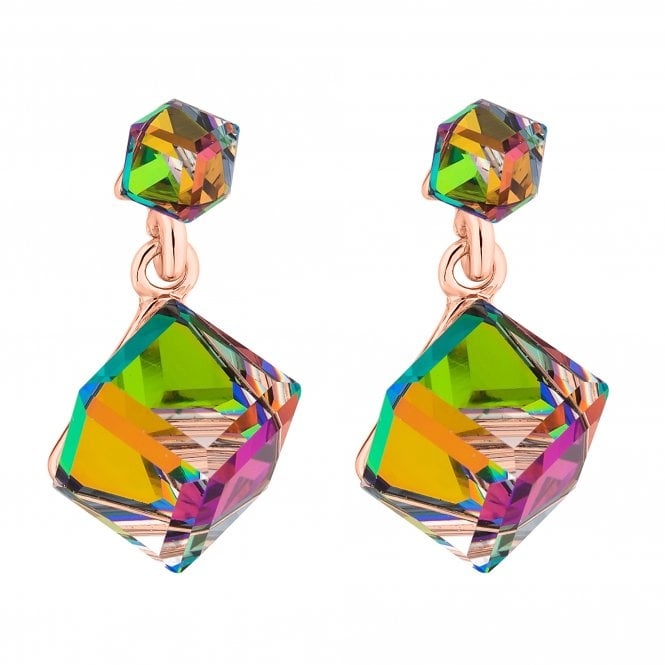 Rose Gold Cube Drop Earring Embellished With Swarovski Crystals