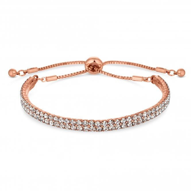 Rose Gold Cubic Zirconia Band Toggle Bracelet