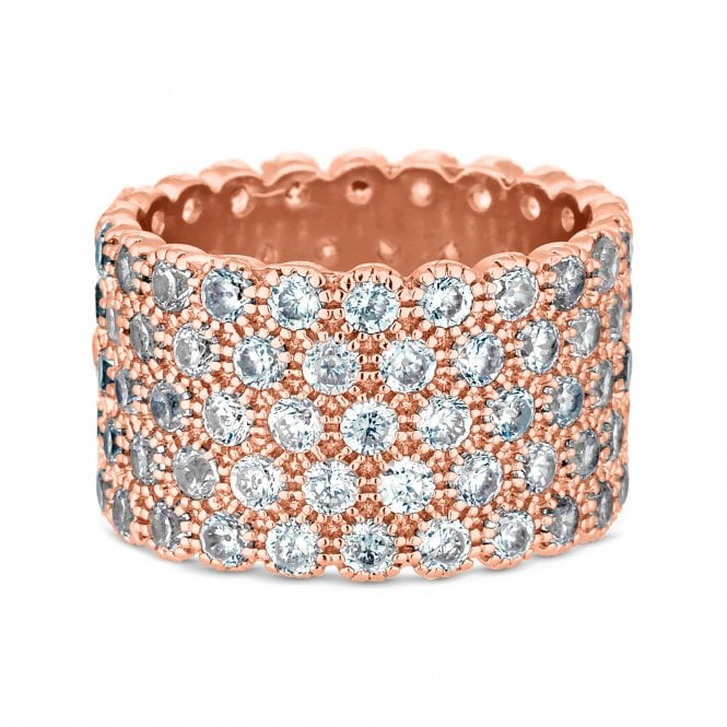 Rose Gold Cubic Zirconia Chunky Band Ring