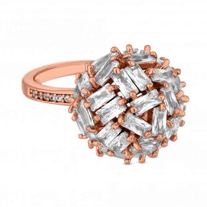 Rose Gold Cubic Zirconia Cluster Orb Ring