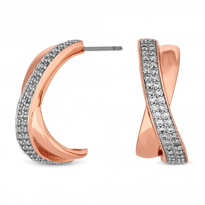 Rose Gold Cubic Zirconia Cross Over Hoop Earring