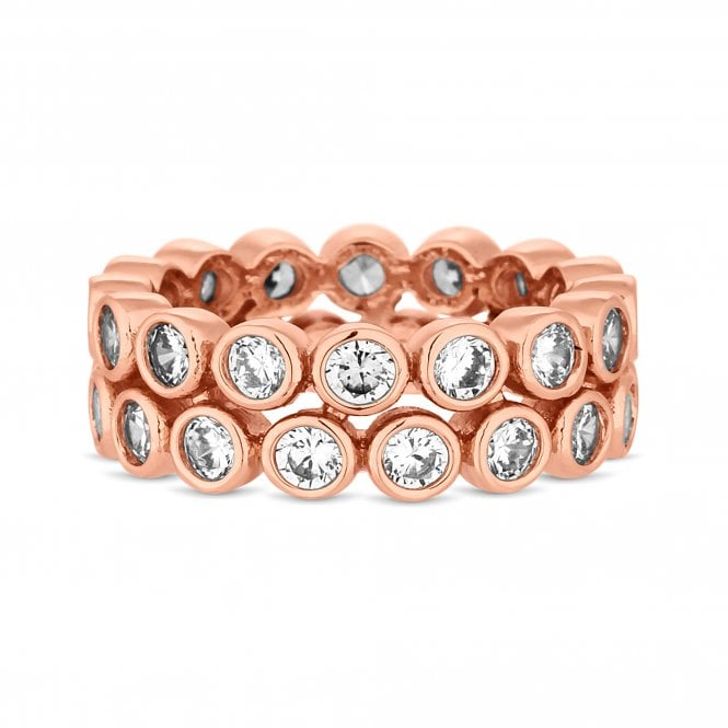 Rose Gold Cubic Zirconia Double Row Ring
