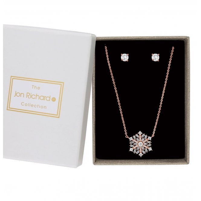 Rose Gold Cubic Zirconia Encrusted Snowflake Jewellery Set