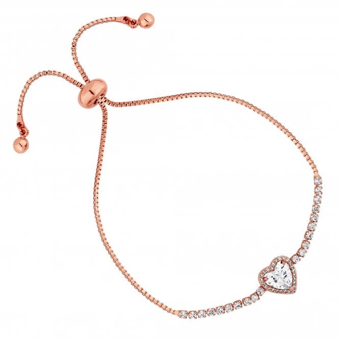 Jon Richard Rose Gold Cubic Zirconia Heart Halo Toggle Bracelet