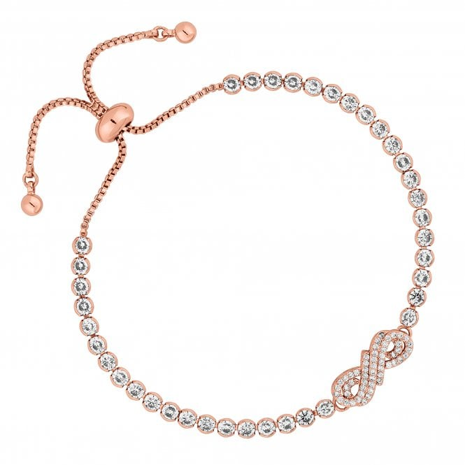 Jon Richard Rose Gold Cubic Zirconia Infinity Toggle Bracelet