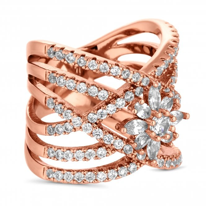 Rose Gold Cubic Zirconia Multi Row Flower Ring