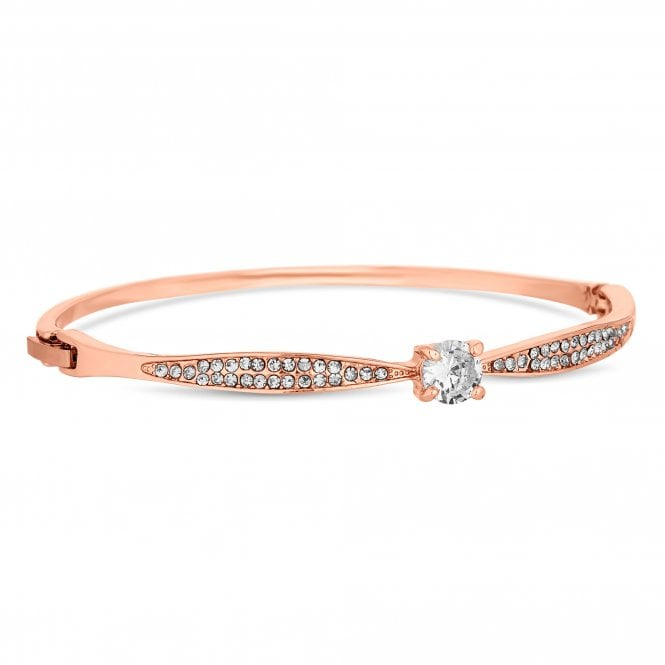 Rose Gold Cubic Zirconia Solitaire Bangle