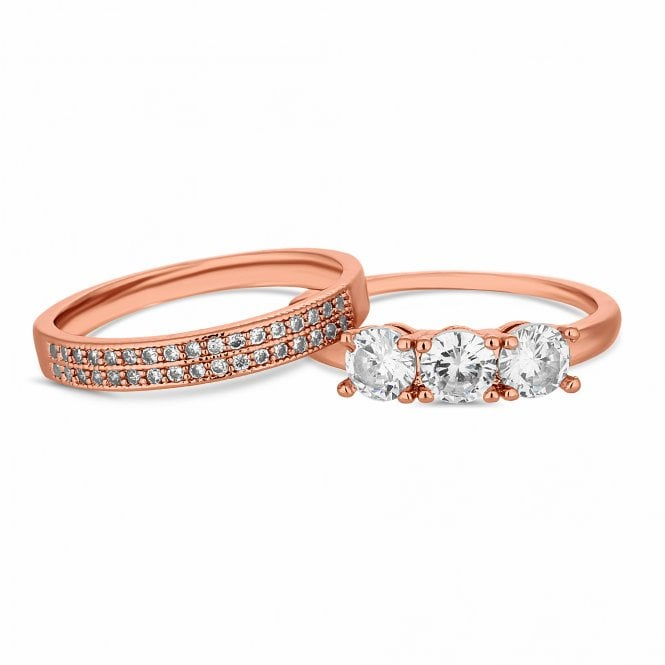 Rose Gold Cubic Zirconia Stacking Ring Set