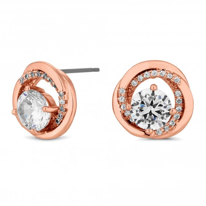 Rose Gold Cubic Zirconia Swirl Stud Earring