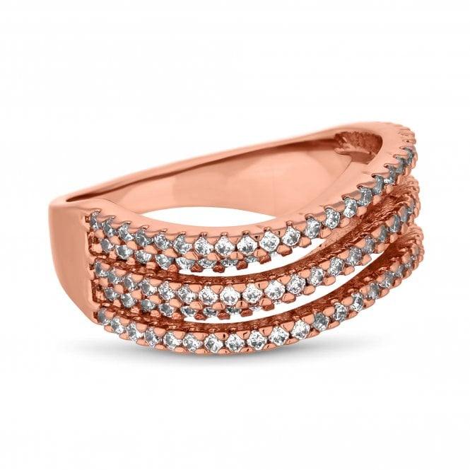 Rose Gold Cubic Zirconia Wave Ring