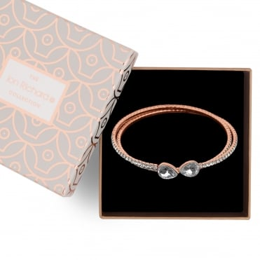 Rose gold diamante coil bracelet