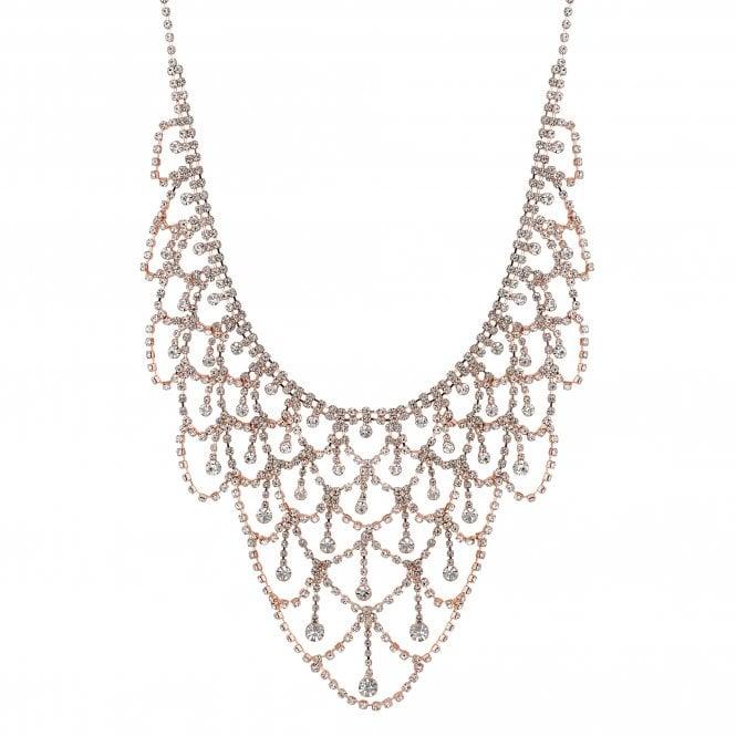 Rose Gold Diamante Drape Statement Necklace