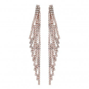 Rose Gold Diamante Drop Statement Earring