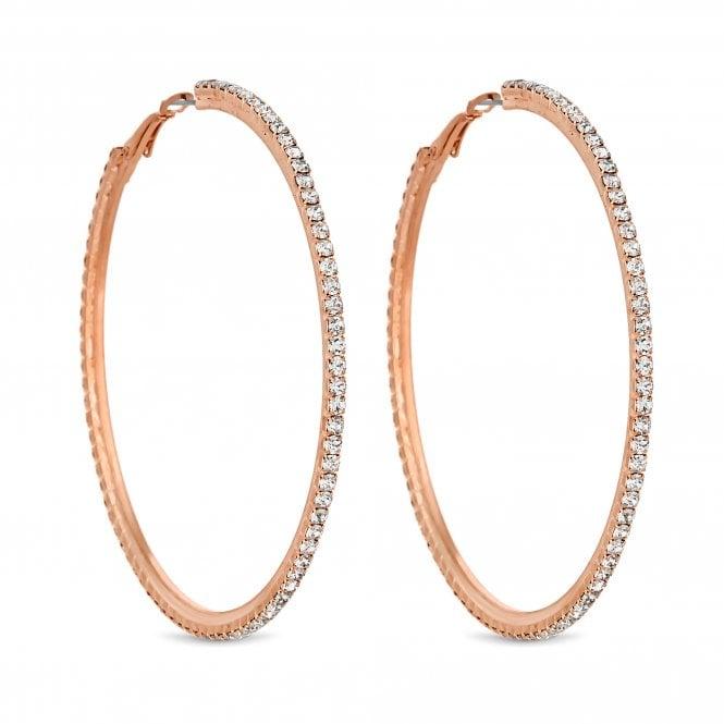 Rose Gold Diamante Hoop Earring