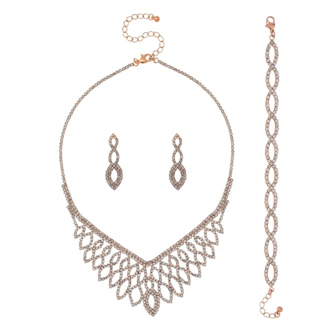 Rose Gold Diamante Jewellery Set