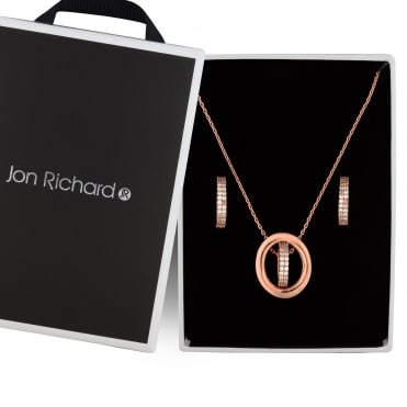 Rose gold double circle jewellery set