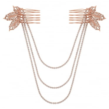 Rose gold feather double hair comb
