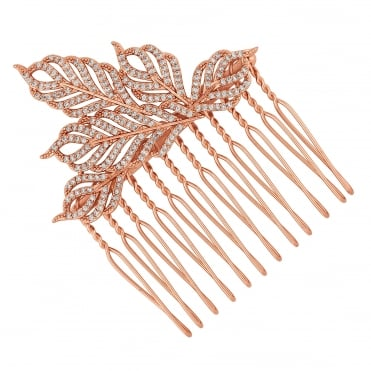 Rose gold feather hair comb