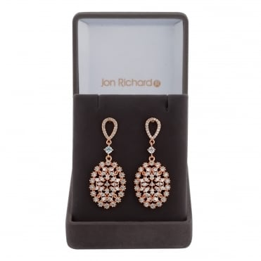 Rose gold filigree drop earring