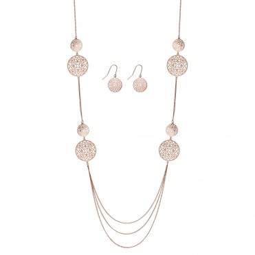 Rose gold filigree jewellery set