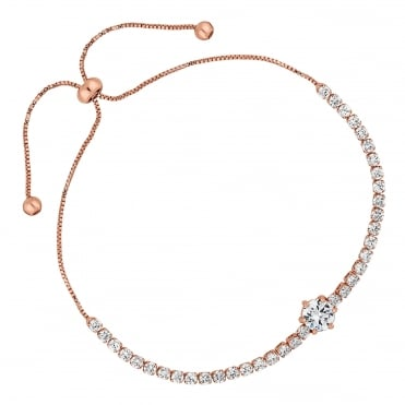 Rose gold fine toggle bracelet