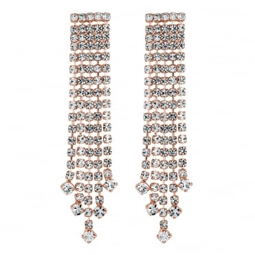 Rose gold graduated diamante earring