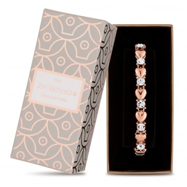 Rose gold heart and crystal bracelet
