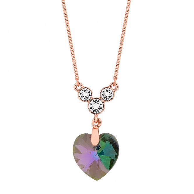Rose Gold Heart Pendant Necklace Embellished With Swarovski Crystals