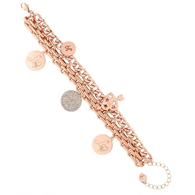 Rose Gold Lipsy Disc Charm Bracelet